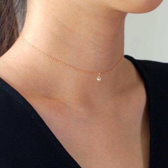 Jewelry - 14K Gold Filled Tiny Bezel Dainty Choker